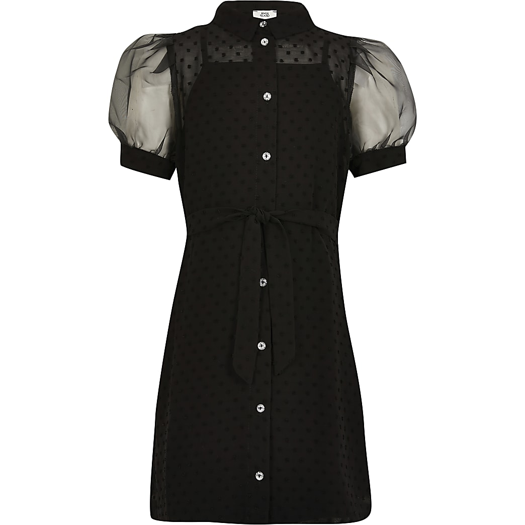 Girls black puff sleeve shirt dress
