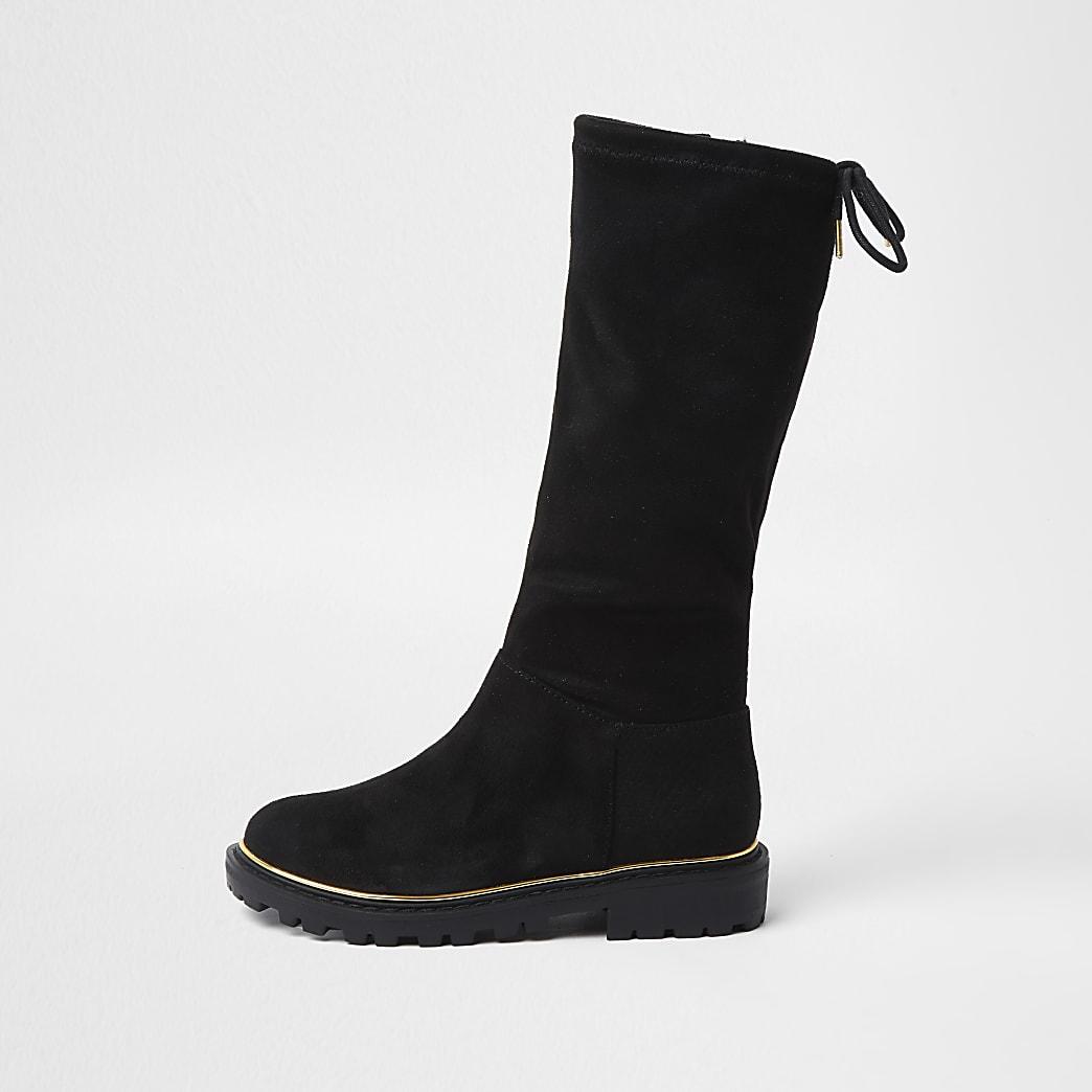 Girls black pull on knee high boot