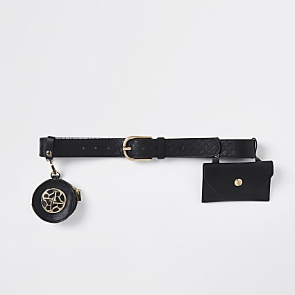 Girls black purse detail belt
