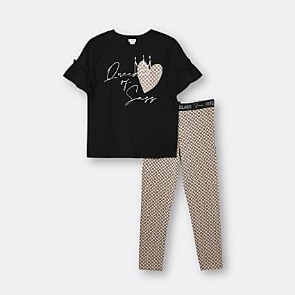 Girls black 'Queen of Sass' t-shirt outfit