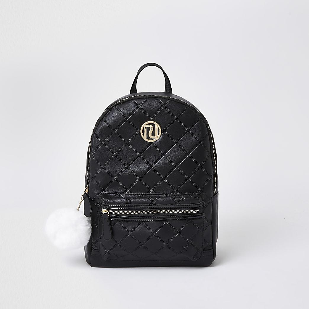 Girls black quilt embossed backpack
