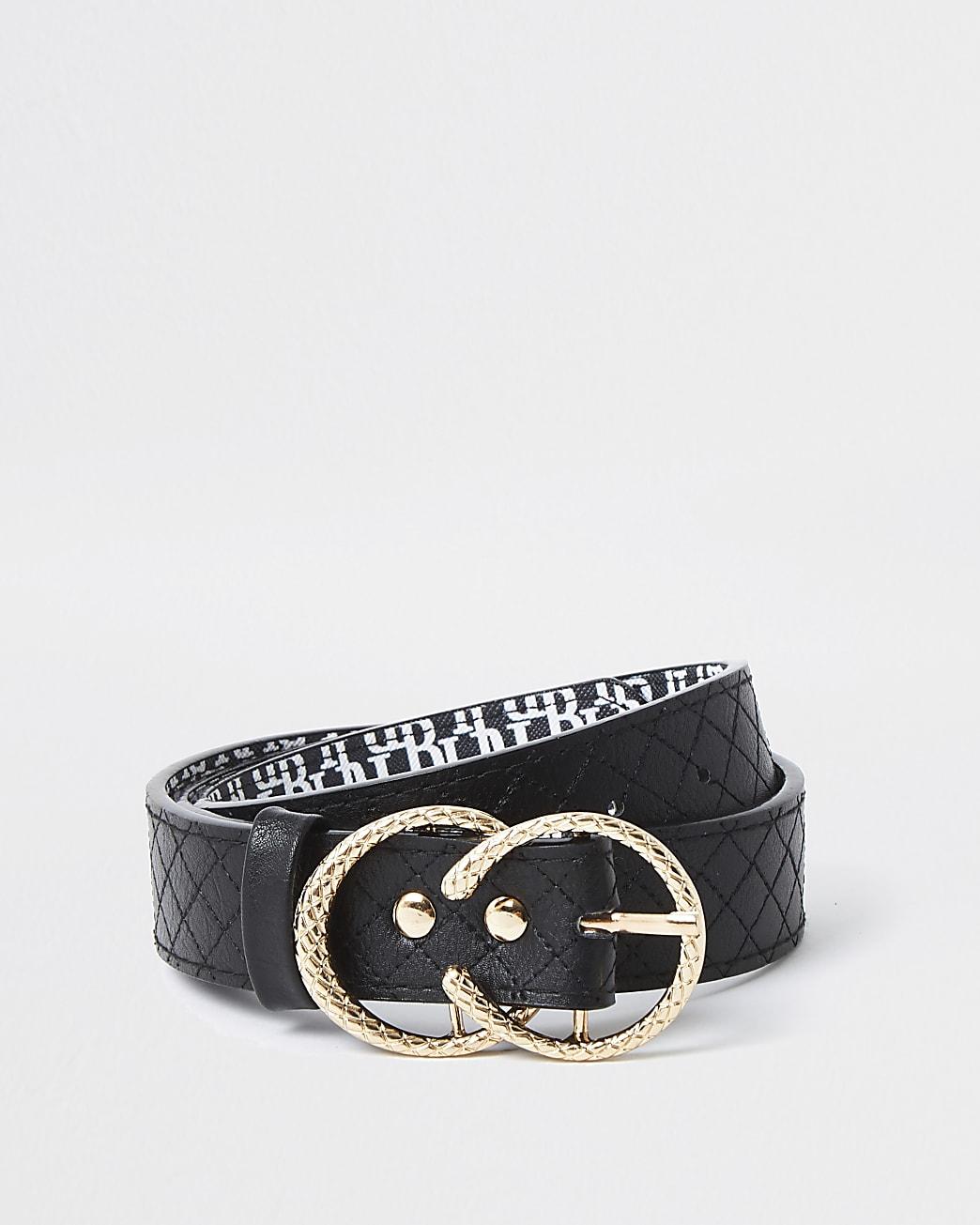 Girls black quilted belt