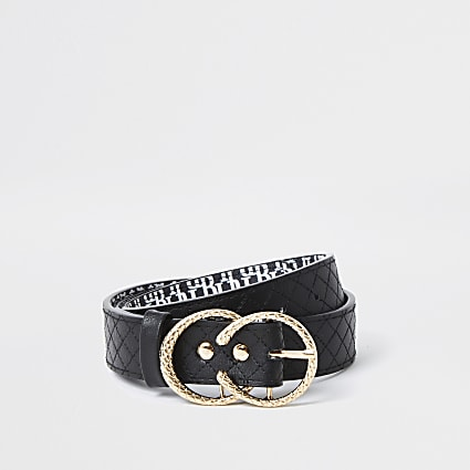 Girls black quilted belt