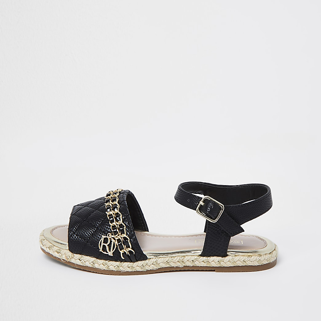 Girls black quilted chain sandals
