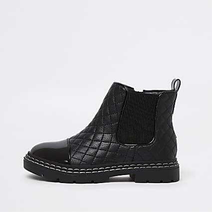 Girls black quilted chelsea boots