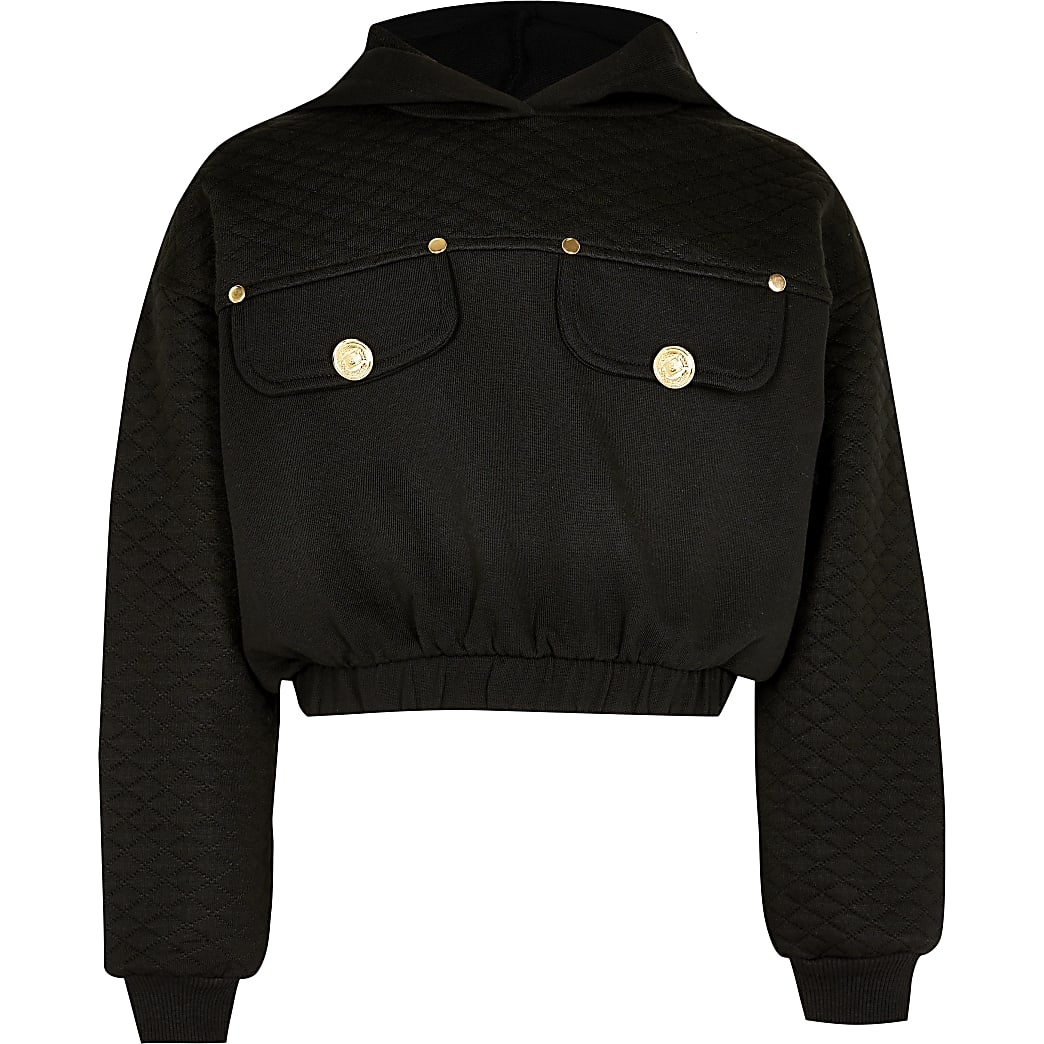Girls black quilted cropped button hoodie
