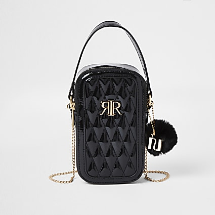 Girls black quilted cross body bag