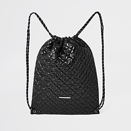 Girls black quilted drawstring bag