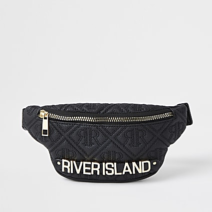 Girls black quilted embossed monogram bumbag