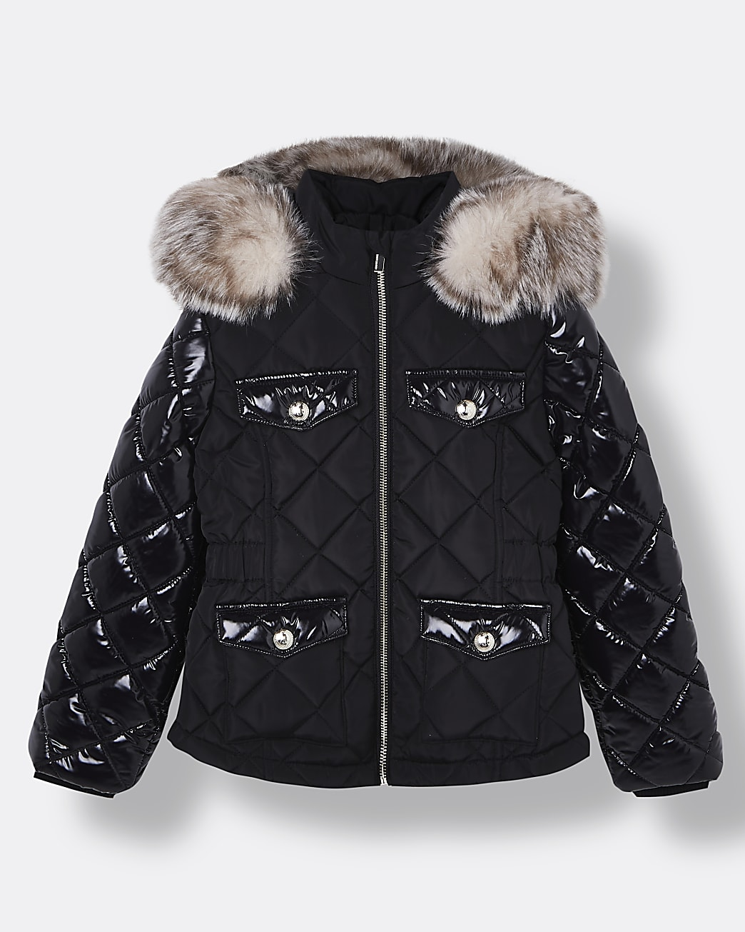 Girls black quilted hooded puffer coat