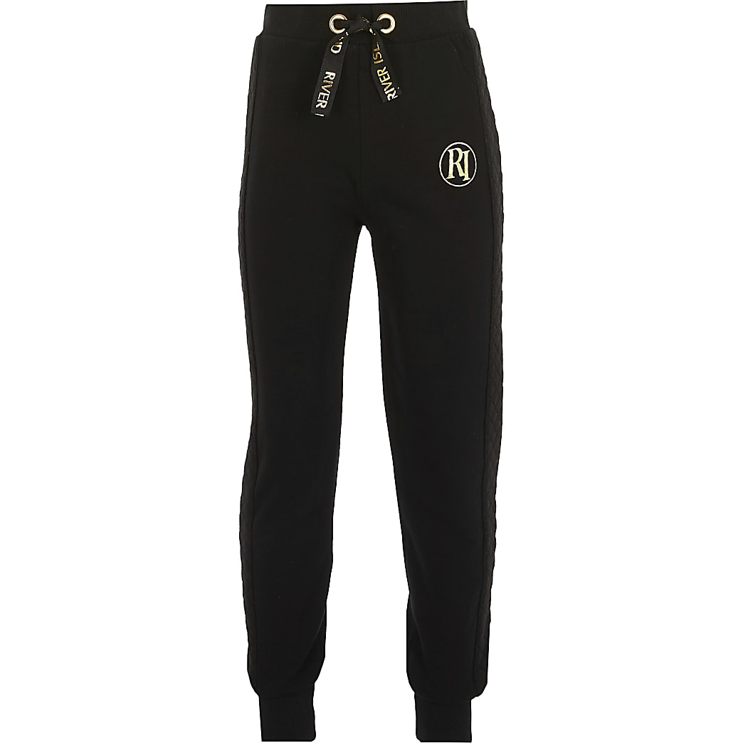 Girls black quilted joggers
