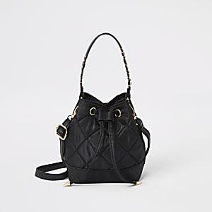 Zwarte doorgestikte mini-tas met trekkoord voor meisjes
