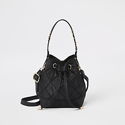 Girls black quilted mini drawstring bag