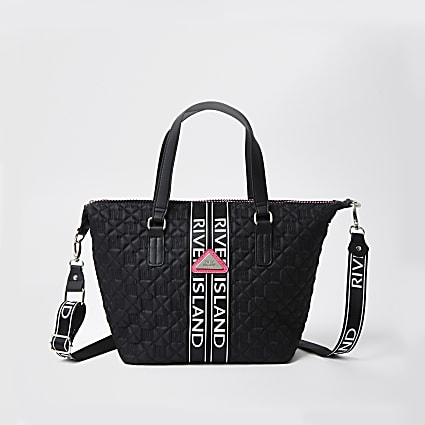 Girls black quilted mongram shopper handbag