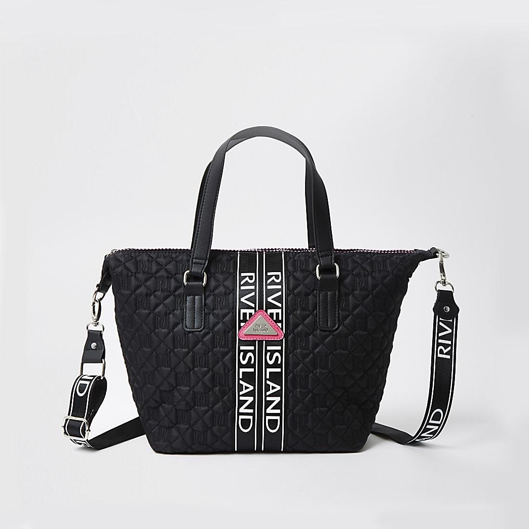 Girls black quilted mongram shopper handbag