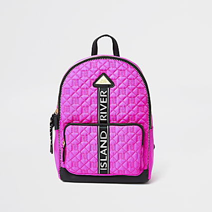 Girls black quilted monogram backpack