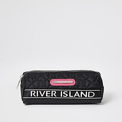 Girls black quilted pencil case