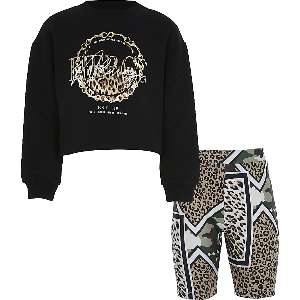 Girls black quilted sweat outfit