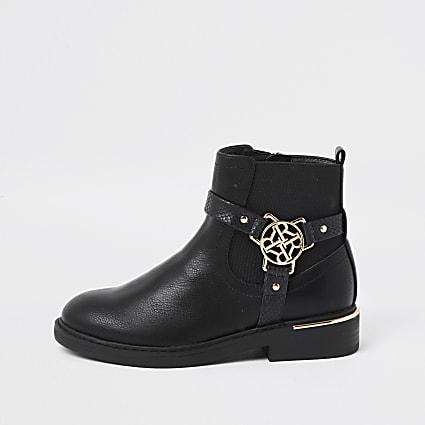 Girls black 'R' bucke ankle boots