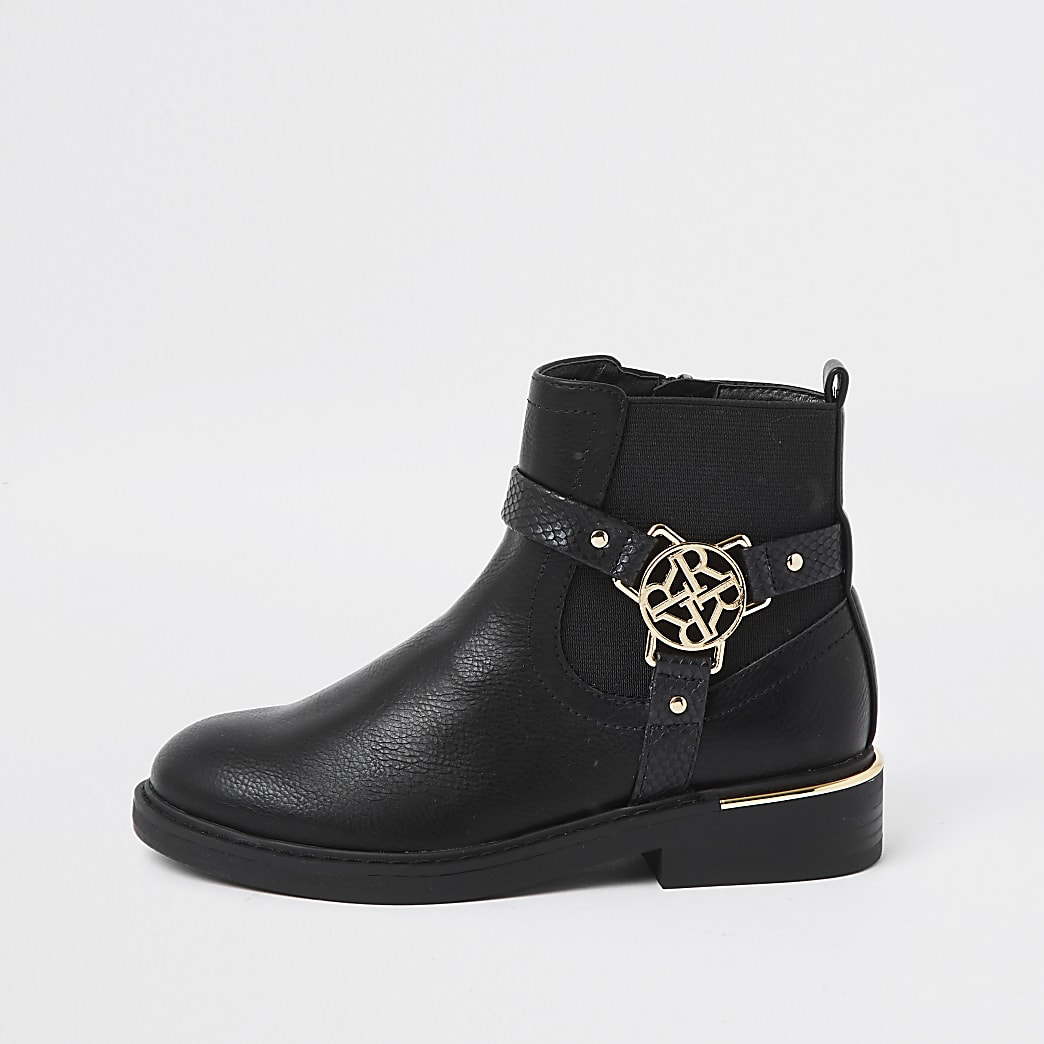 Girls black 'R' buckle ankle boots