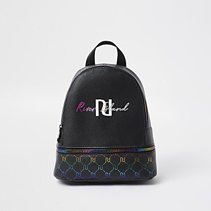 Girls black rainbow monogram backpack