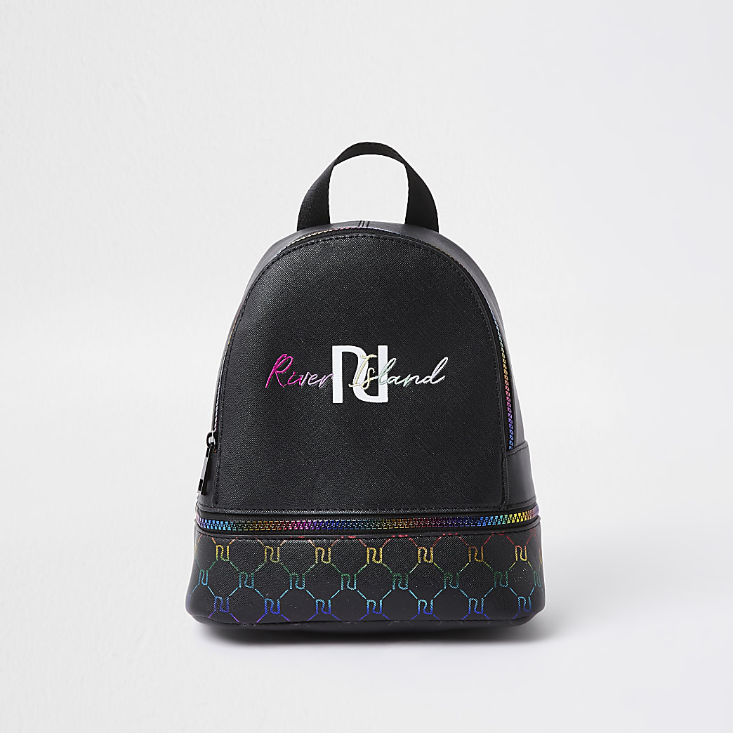 Girls black rainbow monogram backpack