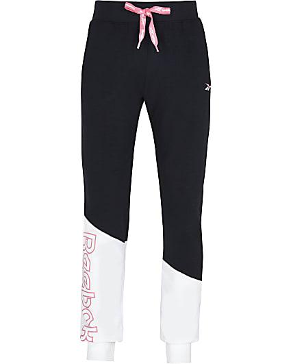 Girls black Reebok colour block joggers
