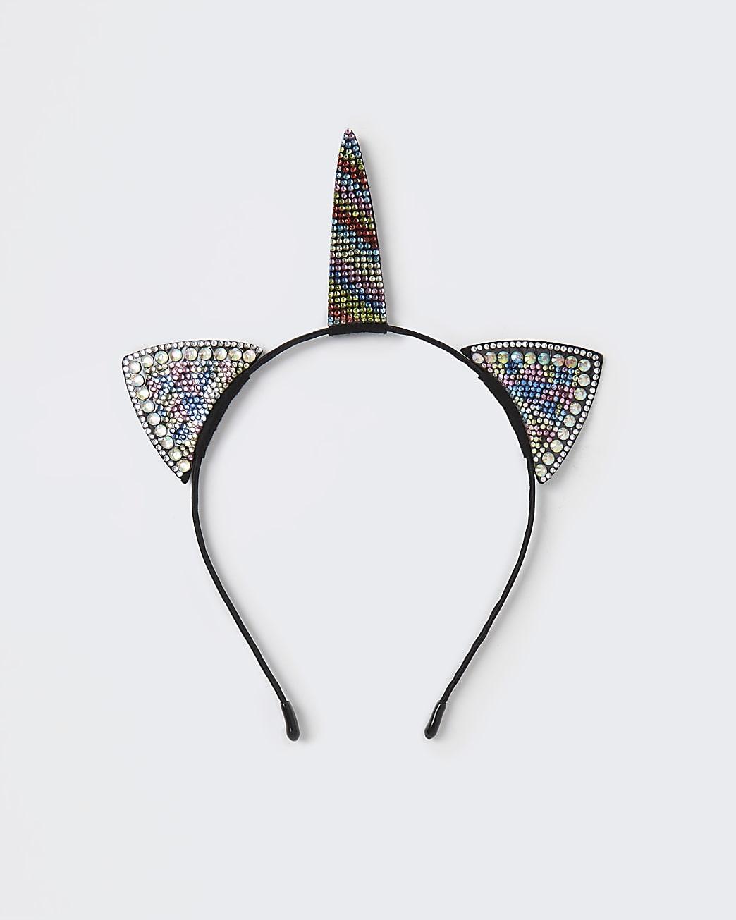 Girls black rhinestone unicorn headband