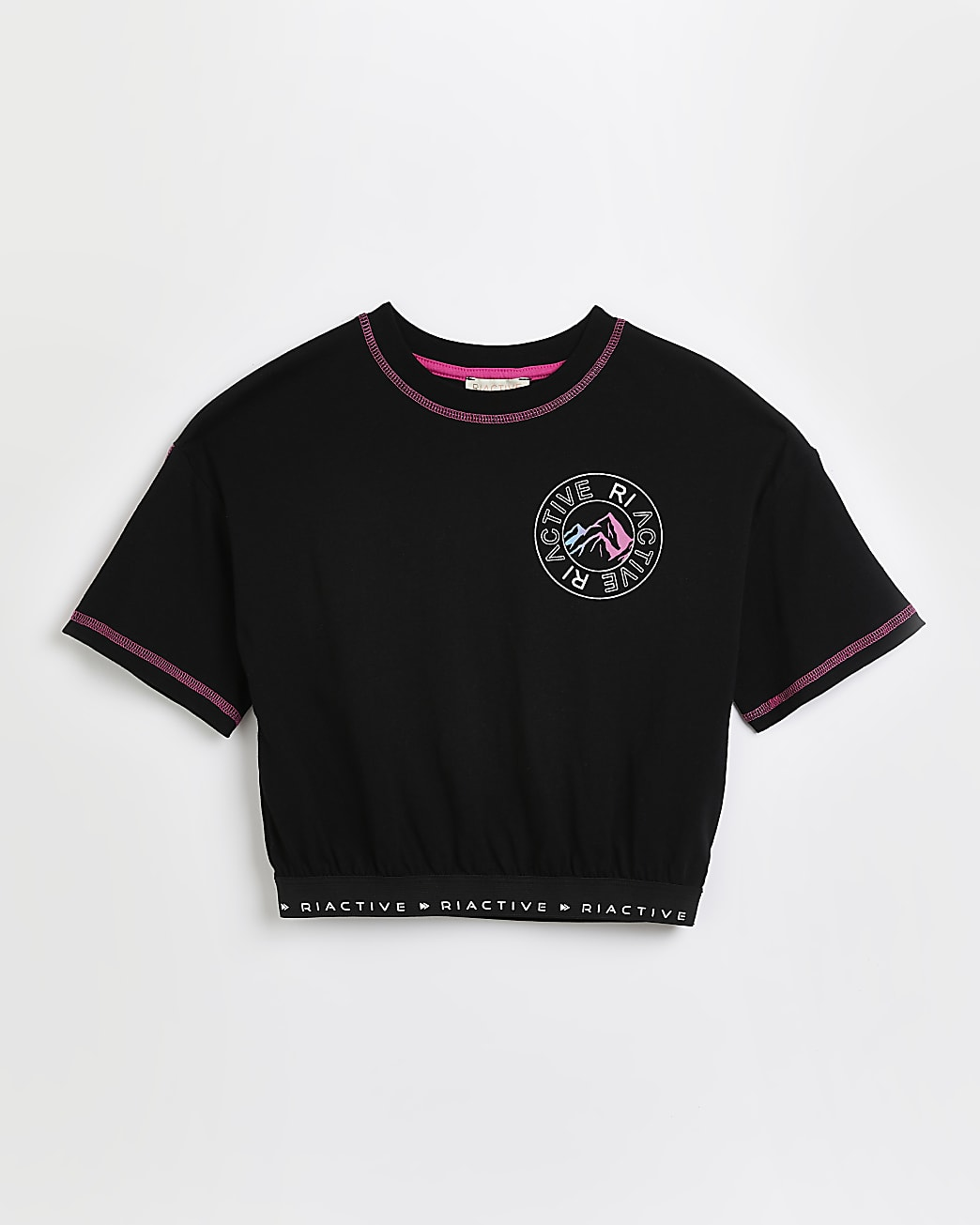 Girls black RI Active back print t-shirt