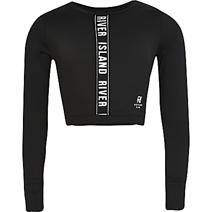 Girls black RI Active crop top