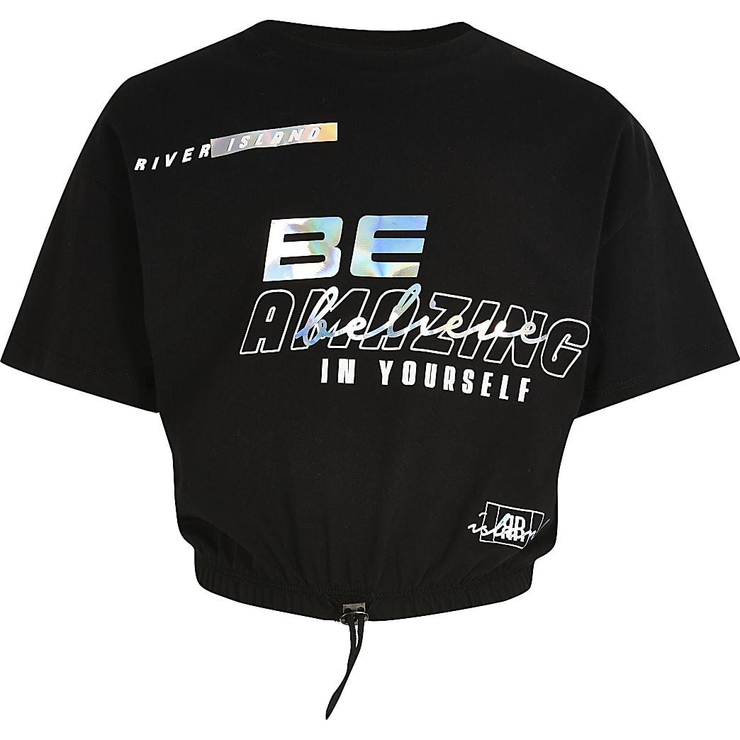 Girls black RI Active cropped sweatshirt