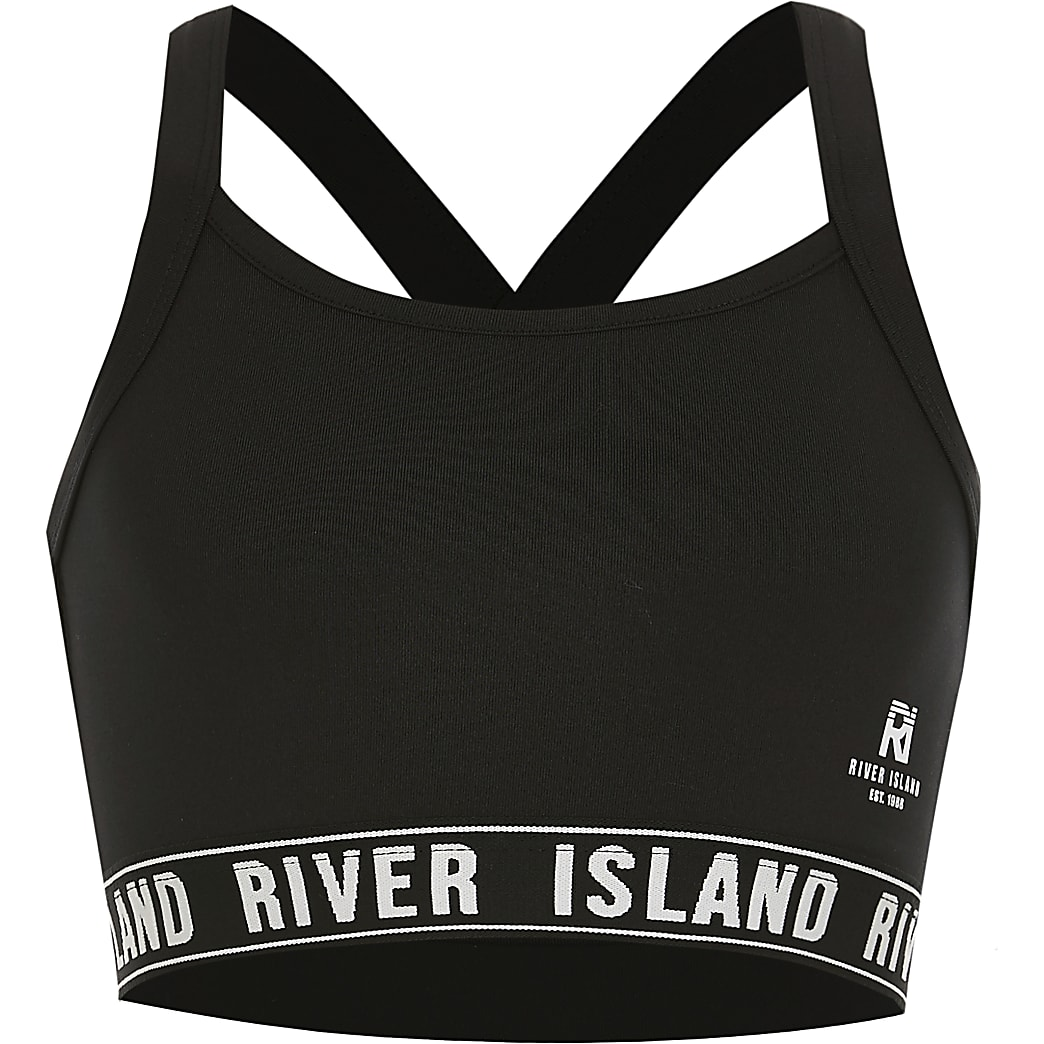 Girls black RI Active crossover crop top