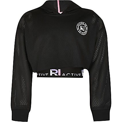 Girls black RI Active mesh crop hoodie