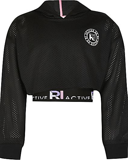 Girls black RI Active mesh crop hoodie