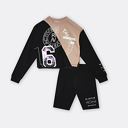 Girls black RI Active mesh graphic outfit