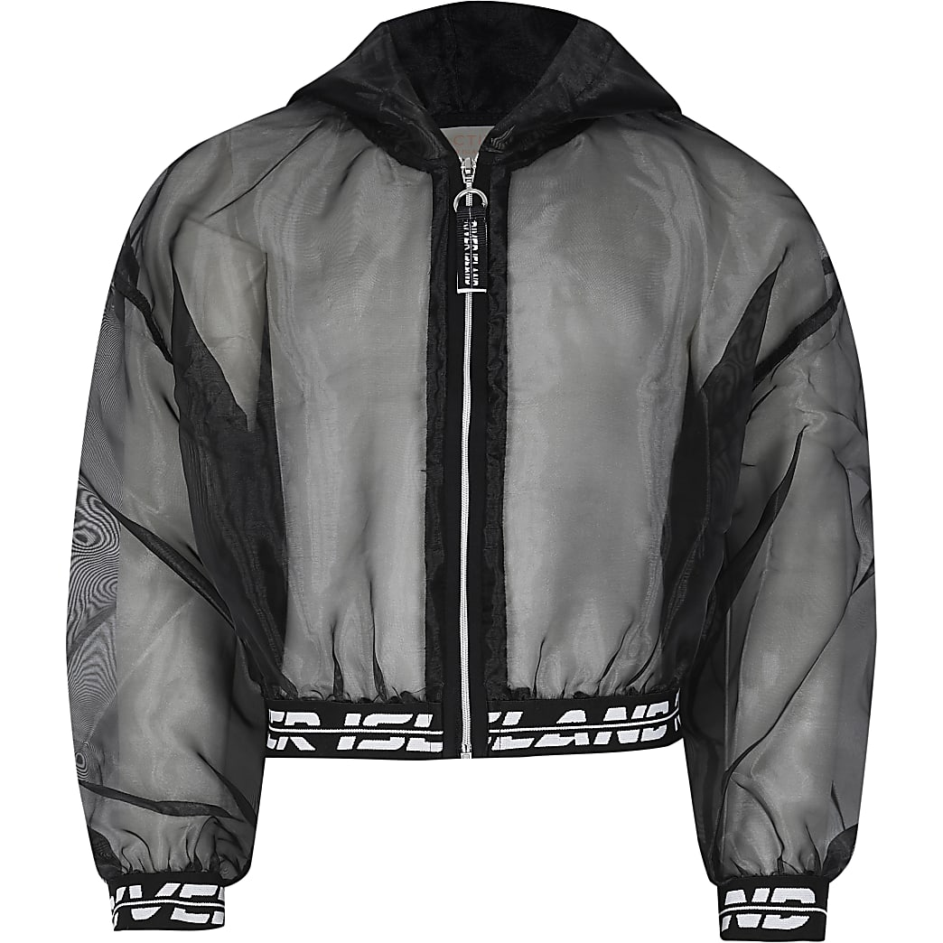 Girls black RI Active organza bomber jacket