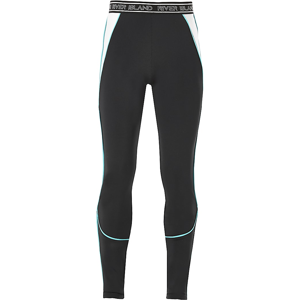 Girls black RI Active piped leggings