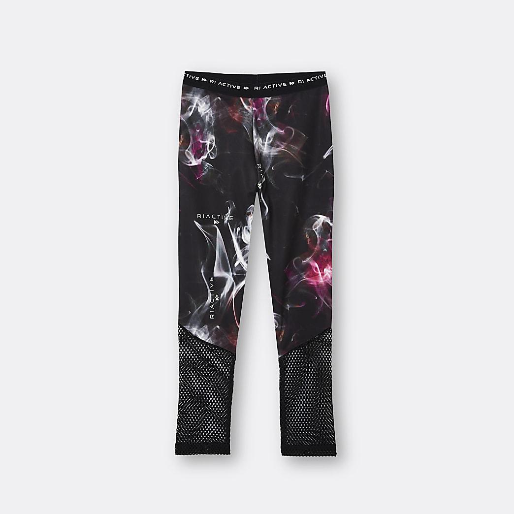 Girls black RI Active printed mesh leggings