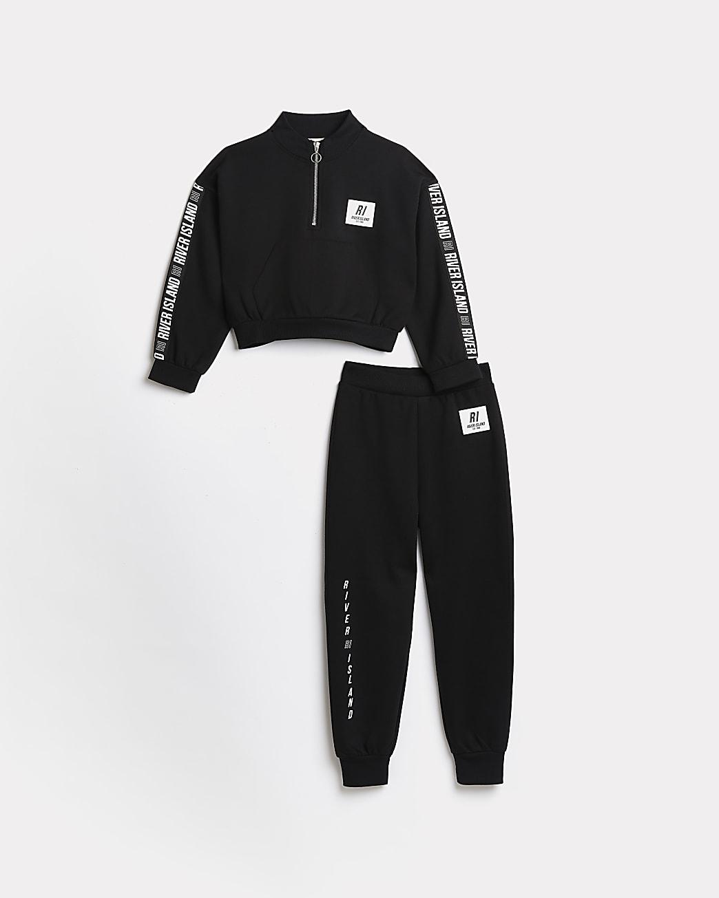 Girls black RI Active sweatshirt and joggers