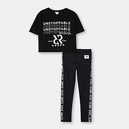 Girls black RI Active t-shirt and leggings