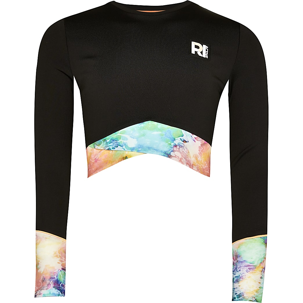Girls black RI Active tie dye crop top