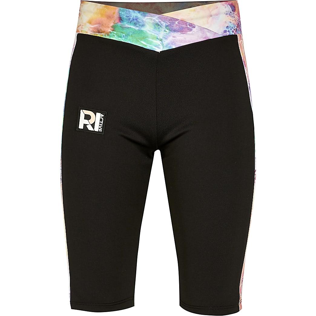 Girls black RI Active tie dye cycle shorts