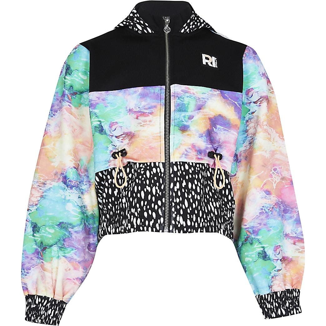 Girls black RI Active tie dye hoodie