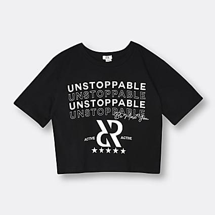Girls black RI active 'Unstoppable' t-shirt