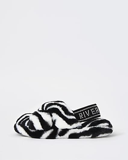 Girls black RI animal print faux fur slippers