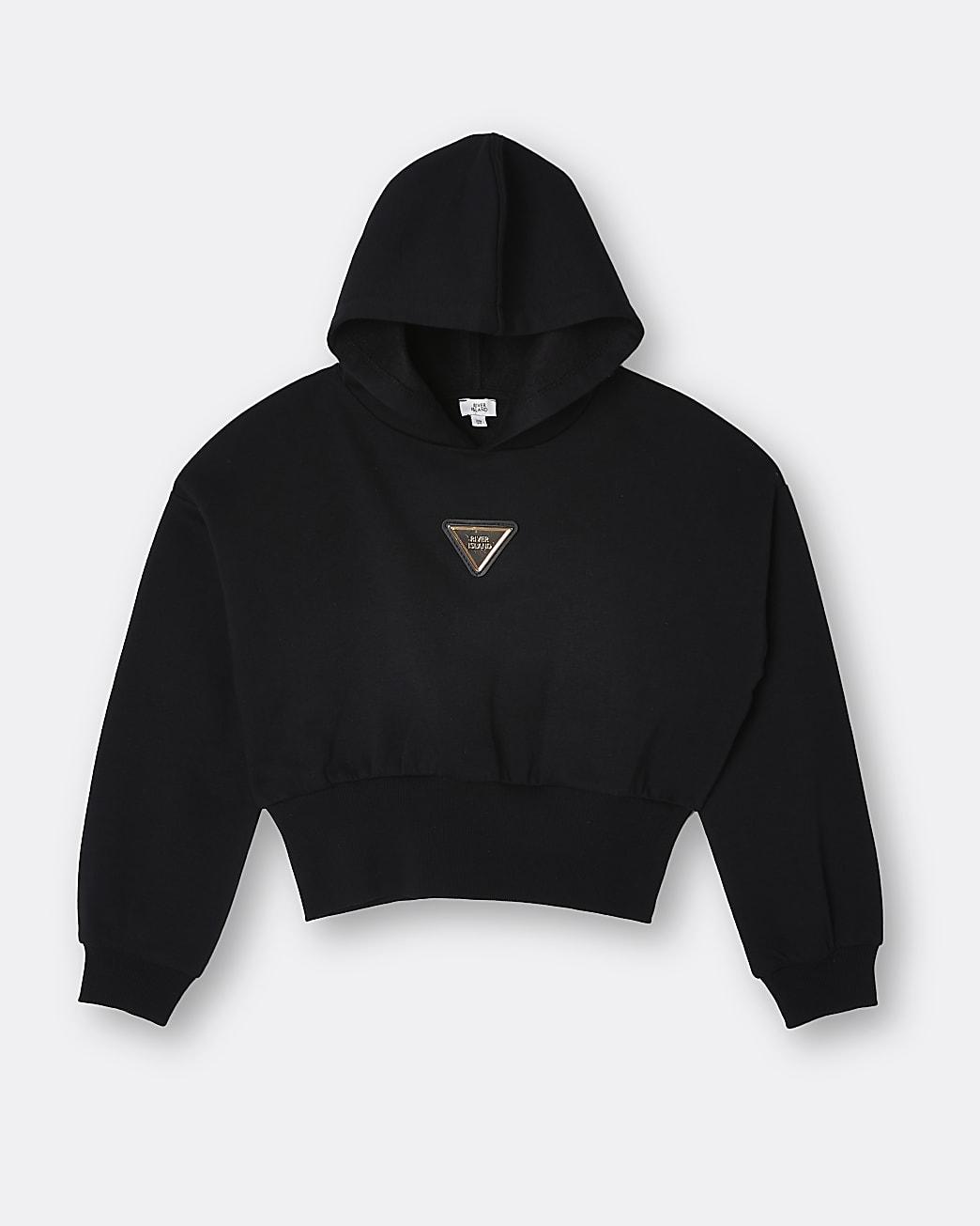 Girls black RI badge hoodie