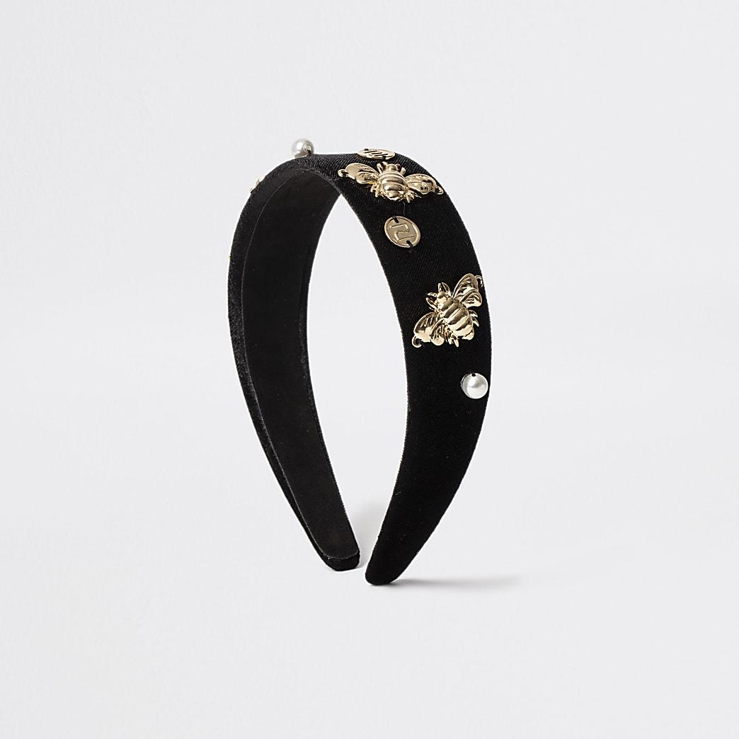 Girls black RI bee headband