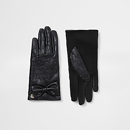 Girls black RI bow faux leather gloves