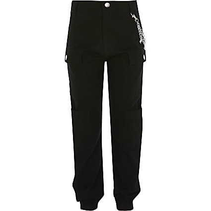 Girls black RI chain cargo trousers