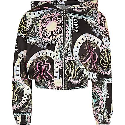 Girls black RI chain print bomber jacket
